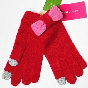 NWT Authentic Kate Spade with Bows Red Gloves